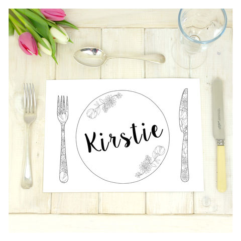 Personalised,Colouring,In,Table,Place,Mat,Setting,Place Mat. Wedding Place Mats. Wedding Accessories, Wedding Table Place Mat - Personalised Placecard - Floral Placemat - Geometric Placemat - Table Setting - Birthday Party - Table Decor