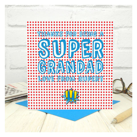 Personalised,Super,Grandad,Fathers,Day,Card,Greetings Card. Grandad Day Card. Card. Personalised card Super Grandad Card - Personalised Card - Fathers Day Card - Birthday Card - Comic Book Card - Custom Card - Marvel Card - Super Hero Card