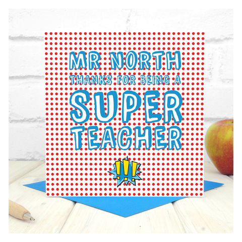 Personalised,Super,Teacher,Card,Greetings Card. Personalised card. Super Teacher Card - Personalised Card - Super Hero Teacher - Comic Book Teacher Card - Lichenstein Card - Art Teacher Card - Thank You Card