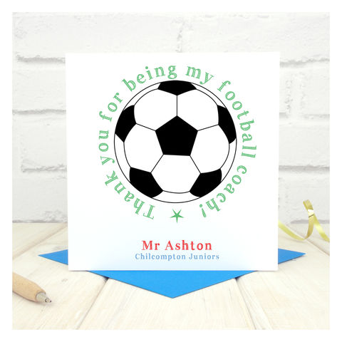 Thank,You,Football,Coach,Personalised,Card,Greetings Card. Personalised card. Thank You Football Coach Card - Personalised - P.E. Teacher - End of Term - End of School - Sport - Athletics Coach