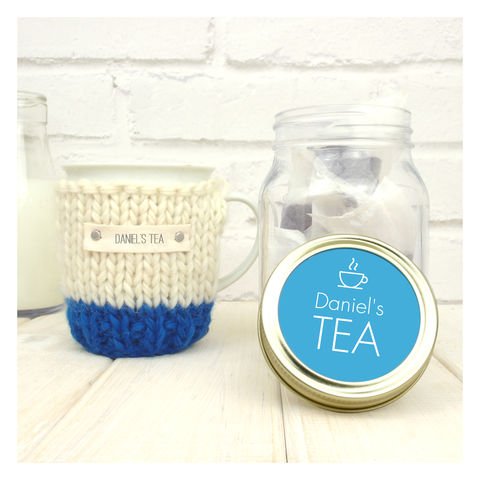 Personalised,Colour,Block,Mug,Cosy,And,Tea,Jar,Gift,Set,Personalised Colour Block Mug Cosy And Tea Jar Gift Set, tea lover gift, tea set, tea cosy set, tea cozy set, mug cosy, breakfast tea, tea addict gift, personalised mug, personalised gift, custom cosy, custom tea cozy, mug and cosy,