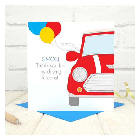 Thank,You,For,My,Driving,Lessons,Personalised,Card,Thank You For My Driving Lessons Personalised Card, congratulations card, driving card, personalised card, custom card, mini cooper card, Your words card, passed test card, theory test card, passed your test, driving lessons card, new driver card, driving