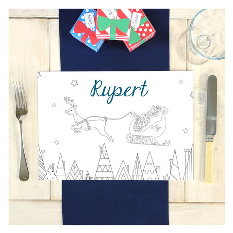 Personalised,Reindeer,Colouring,In,Placemat,Personalised Reindeer Colouring In Placemat