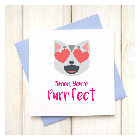 Personalised,You're,Purrfect,Emoji,Card,Personalised You're Purrfect Emoji Card