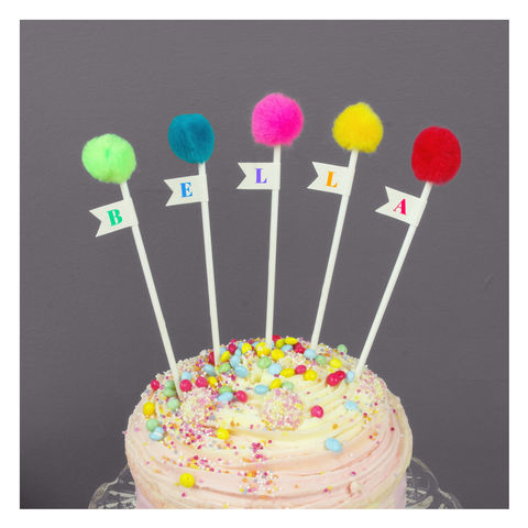 Personalised,Pom,Cake,Toppers,Personalised Pom Pom Cake Toppers