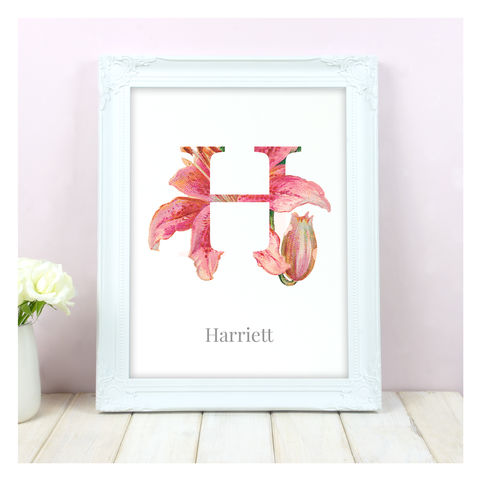 Personalised,Floral,Initial,Name,Print,Personalised Floral Initial Name Print