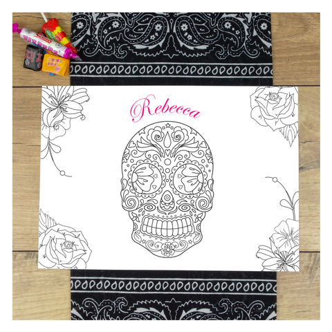 Personalised,Halloween,Sugar,Skull,Colour,In,Placemat,Personalised Halloween Sugar Skull Colour In Placemat