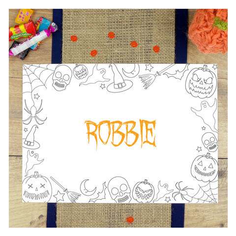 Personalised,Halloween,Colouring,In,Party,Placemat,Personalised Halloween Colouring In Party Placemat