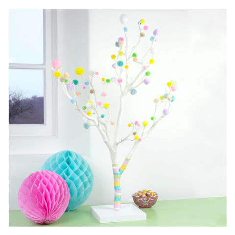 Pom,Easter,Tree,alternative Easter tree, modern Easter tree, minimal Easter tree, contemporary Easter tree, Easter tree for small spaces, bright Easter tree, neutral Easter tree