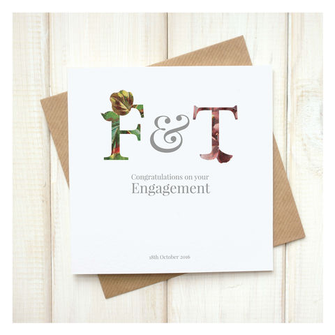 Personalised,Floral,Engagement,Card,Personalised Floral Engagement Card - Engagement - Engagement Card - Congratulations On Your Engagement - Valentines Day - Greetings Card