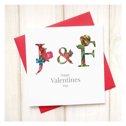 Personalised,Floral,Valentines,Card,Personalised Floral Valentines Day Card - Valentines- Valentines Day Card - Initial Card - Valentine - Greetings Card