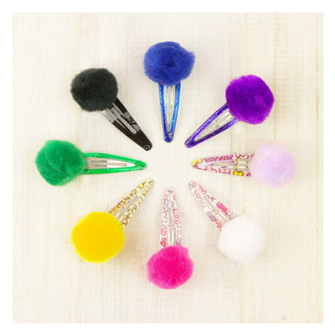 Pom,Hair,Clip,Pom Pom Hairclip. Handmade in Britain. Hair Accessories, Pom Pom Hair Clip - Gingham Hair Clip - Party Bag Favour - School Uniform Hairclip - Hair Clip for Girls - Girls Party Favour- Party Bag
