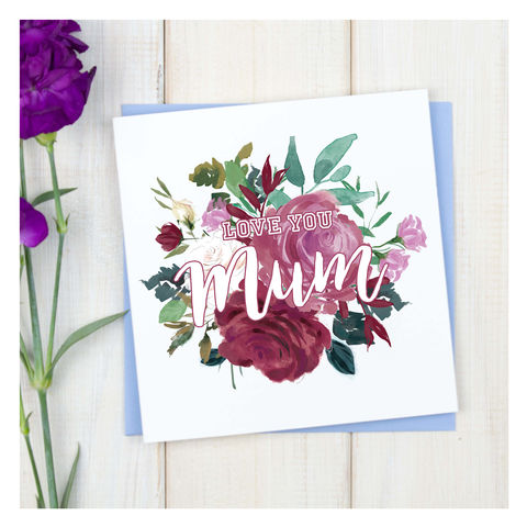 Personalised,Bouquet,Mothers,Day,Card,Personalised Bouquet Mothers Day Card - Mothers Day - Mum Card - Mother Card- Mum - Mother - Greetings Card