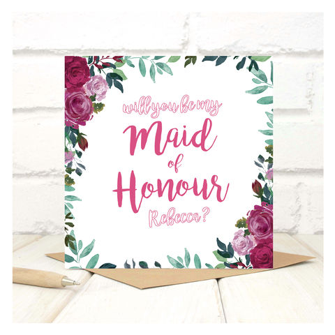 Personalised,Will,You,Be,My,Maid,Of,Honour,Card,Personalised Will You Be My Maid Of Honour Card - Wedding Card - Maid Of Honour -Bridesmaid -Will you be my Maid Of Honour - Greetings Card - Wedding -Weddings