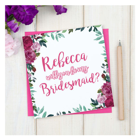 Personalised,Will,You,Be,My,Bridesmaid,Card,Personalised Will You Be My Bridesmaid Card - Wedding Card - Bridesmaid- Maid Of Honour -Bridesmaid -Page Boy - Greetings Card - Wedding -Weddings