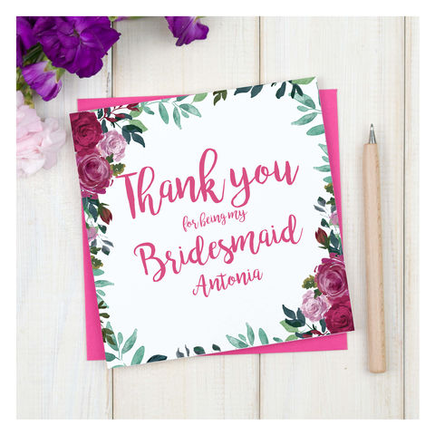 Personalised,Thank,You,Bridesmaid,Floral,Card,Personalised Thank You Bridesmaid Floral Card - Wedding Card - Bridesmaids - Thank you- Maid Of Honour -Bridesmaid -Page Boy - Greetings Card - Wedding -Weddings