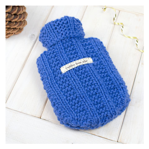Personalised,Mini,Hot,Water,Bottle,And,Cover,-,Cornflower,Blue,Hot Water Bottle Cover, Hot Water Bottle, Small Hot Water Bottle, Children's Hot Water Bottle, Hot Water Bottle Cover - Wine Purple Hot Water Bottle and Cover - Chunky Wool Hot Water Bottle Cover - Gift for Grandma - Gift for Mum