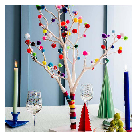 Pom,Christmas,Tree,alternative christmas tree, modern christmas tree, minimal christmas tree, contemporary christmas tree, christmas tree for small spaces, bright christmas tree, neutral christmas tree