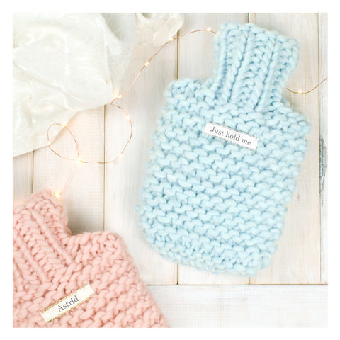 Personalised,Super,Chunky,Knitted,Mini,Hot,Water,Bottle,Super Chunky Hot Water Bottle -  Chunky Knit Hot Water Bottle - Knit Hot Water Bottle - Blue Hot Water Bottle - Personalised Hot Water Bottle - Pink Hot Water Bottle - Hot Water Bottle