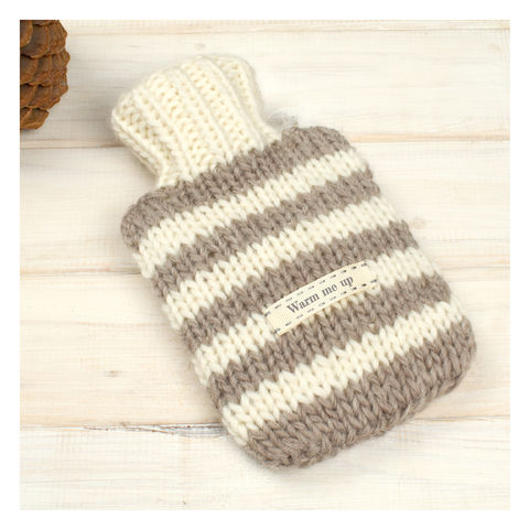 Hand,Knitted,Striped,Mini,Hot,Water,Bottle,And,Cover,-,Oatmeal,&,Cream,Stripe,Mini Hot Water Bottle. Cosy. Stripey, Mini Hot Water Bottle and Cover - Black And White Striped Hot Water Bottle - Travel Hot Water Bottle - Personalised Hot Water Bottle Cover