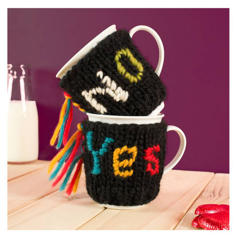 Yes,Or,No,Mug,Cosy,Personalised Mug Cosy, Knitted, Made in Britain, Mug and Cosy - Personalised Knitted Mug Cosy and Mug - Eco Friendly Mug Cozy - Wool Mug Cosy - Rustic - Tea Accessory - Tea Lover - On a Promise- Valentines Day Mug - On a promise mug