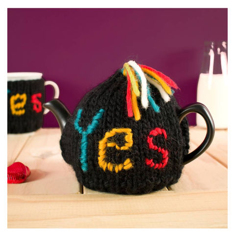 Yes,Or,No,Tea,Cosy,Personalised Two Cup Colour Block Tea Cosy - Tea Cosy - On a Promise - Valentines Day - Yes or No - Tea Pot - Tea Pot Cosy - Red and Cream - Tea Cosy