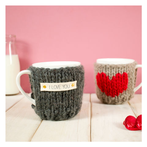 Personalised,Heart,Cosy,And,Mug,Personalised Heart Cosy And Mug, Knitted, Made in Britain, Mug and Knitted Cosy - Valentines Day Mug Cosy - White China Mug - Mug Cozy - Housewarming Gift - Tea Accessory - Chunky Knit Cosy