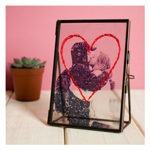 Personalised,Valentine's,Day,Embroidered,Photo,Frame,Personalised Valentine's Day Embroidered Photo Frame - Photo Frame - Transparent Frame - Vintage Frame - Glass Frame - Valentines- Valentines Day - Gifts for him - Gifts for her