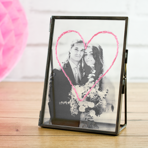 Personalised,Wedding,Embroidered,Photo,Frame,Personalised Wedding Embroidered Photo Frame - Photo Frame - Transparent Frame - Vintage Frame - Glass Frame - Wedding - Wedding gift - Gifts for friends