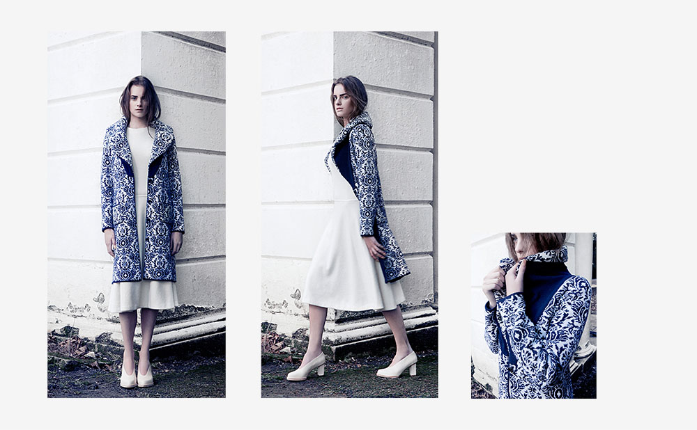 DOUBLE-KNITTED JACQUARD SHAWL COLLAR COAT