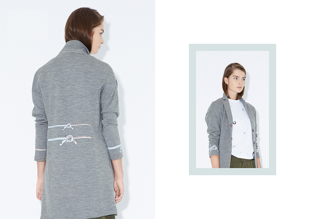 Jersey coat with rope printed details
