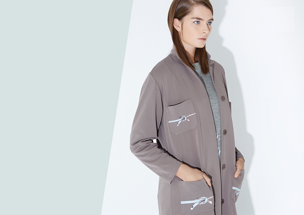 Jersey lab coat with rope printed pockets