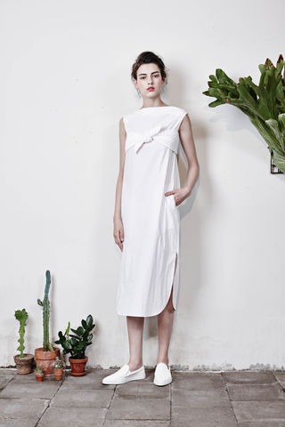 Long,sleeveless,dress,with,bow,Smoky Beige, Cobalt Blue, Blue, Beach blue, Hairy, Autumn, Winter, SS16
