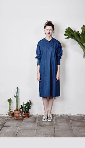 Sailor-collared,boxy,dress-,Denim,Blue,Smoky Beige, Cobalt Blue, Blue, Beach blue, Denim blue, Autumn, Winter, SS16