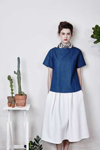 Back-Bowed,'Lolita',Top,Smoky Beige, Cobalt Blue, Blue, Beach blue, Denim blue, Autumn, Winter, SS16