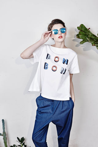 Back-Bowed,'Lolita',Top,Bow top, cotton top with print, summer chic, french inspired slogan, bon bon print, printed top