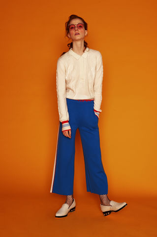 'Le,Week-end',knitted,track,pants,knitted track pants, wool pants, Blue track pants, Blue knitted trousers, jwon, jwon london