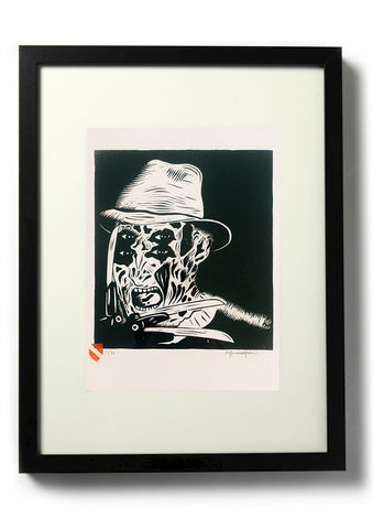 One,,Two,,Freddy's,Coming,For,You,-,Original,relief.,Hand,finished,,hand,printed,Linocut, Rocco Malatesta, Illustrator, Poster, Movie Poster, fine art print, archival ink, archival paper.