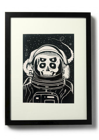 ASTRONAUT,-,Original,relief.,Hand,Printed,Linocut, Rocco Malatesta, Illustrator, Poster, Movie Poster, fine art print, archival ink, archival paper.