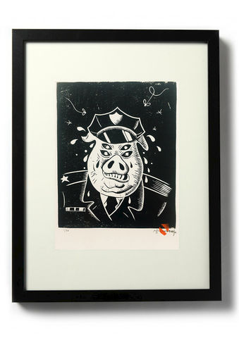 FASCIST,PIG,-,Original,relief.,Hand,Printed,Linocut, Rocco Malatesta, Illustrator, Poster, Movie Poster, fine art print, archival ink, archival paper.