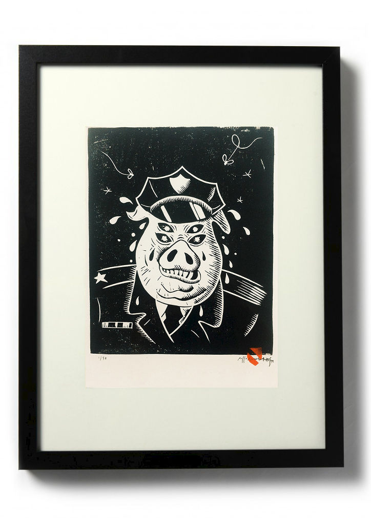 FASCIST PIG - Original relief. Hand Printed - product images  of
