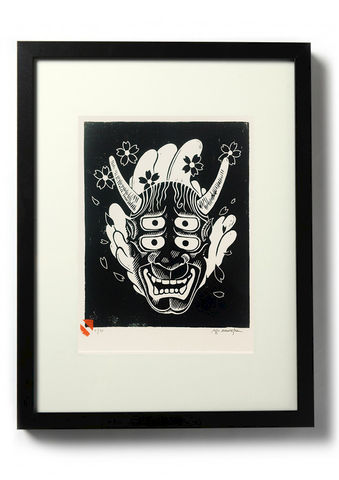 DOUBLE,VISION,HANNYA,-,Original,relief.,Hand,Printed,Linocut, Rocco Malatesta, Illustrator, Poster, Movie Poster, fine art print, archival ink, archival paper.