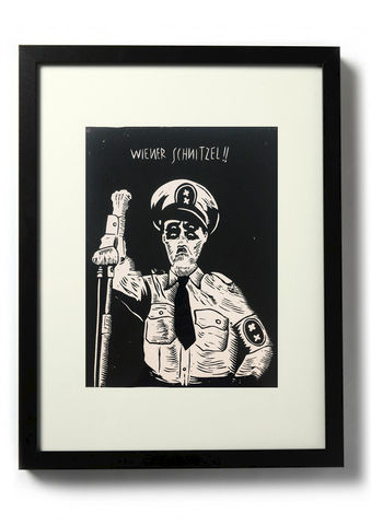 WIENER,SCHNITZEL,-,Original,relief.,Hand,Printed,Linocut, Rocco Malatesta, Illustrator, Poster, Movie Poster, fine art print, archival ink, archival paper.
