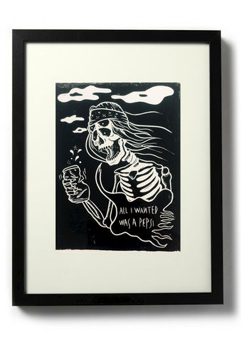 JUST,ONE,PEPSI,-,Original,relief.,Hand,Printed,Linocut, Rocco Malatesta, Illustrator, Poster, Movie Poster, fine art print, archival ink, archival paper.