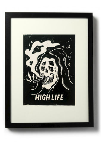 HIGH,LIFE,-,Original,relief.,Hand,Printed,Linocut, Rocco Malatesta, Illustrator, Poster, Movie Poster, fine art print, archival ink, archival paper.