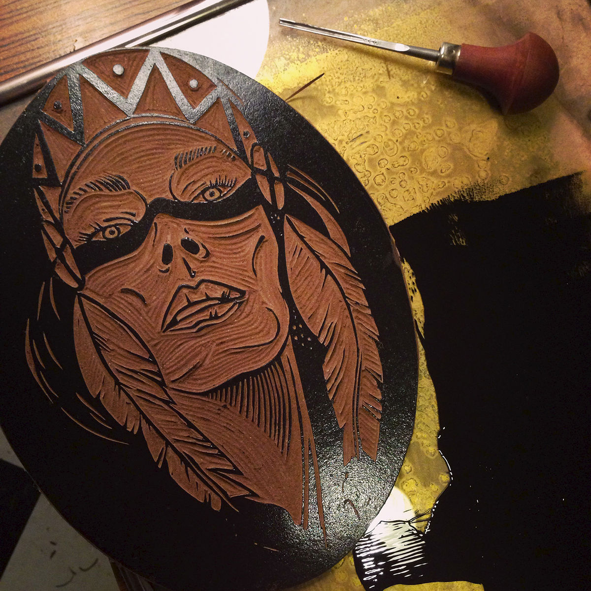 MAGENA (Rising Moon) - Original relief. Hand finished, hand printed - product images  of