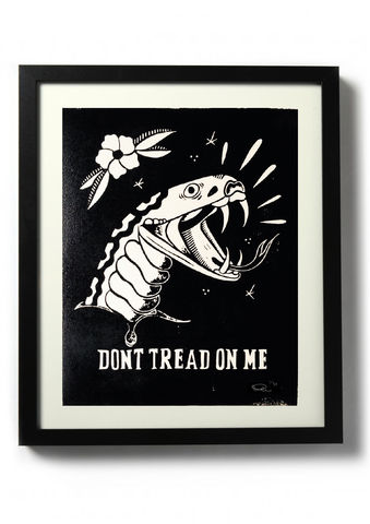 DONT,TREAD,ON,ME,-,Original,relief.,Hand,printed.,Linocut, Rocco Malatesta, Illustrator, Poster, Movie Poster, fine art print, archival ink, archival paper.