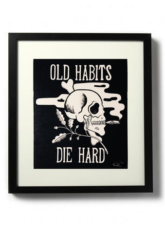 OLD,HABITS,,DIE,HARD,-,Original,relief.,Hand,finished,,hand,printed,Linocut, Rocco Malatesta, Illustrator, Poster, Movie Poster, fine art print, archival ink, archival paper.