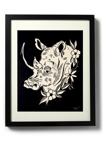 RHINO,-,Original,relief.,Hand,printed.,Linocut, Rocco Malatesta, Illustrator, Poster, Movie Poster, fine art print, archival ink, archival paper.