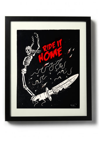 RIDE,IT,HOME,(variant,red),-,Original,relief.,Hand,finished,,hand,printed,Linocut, Rocco Malatesta, Illustrator, Poster, Movie Poster, fine art print, archival ink, archival paper.